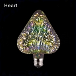 LED 3D Spuldze HEART  E27 (G125) - 3W = 40W /  3000K   / 85-265v /  bulb / Led Light Bulb / 3D Decoration Fireworks Bulb / E27 /  Holiday Lights  ::  E27 Filament
